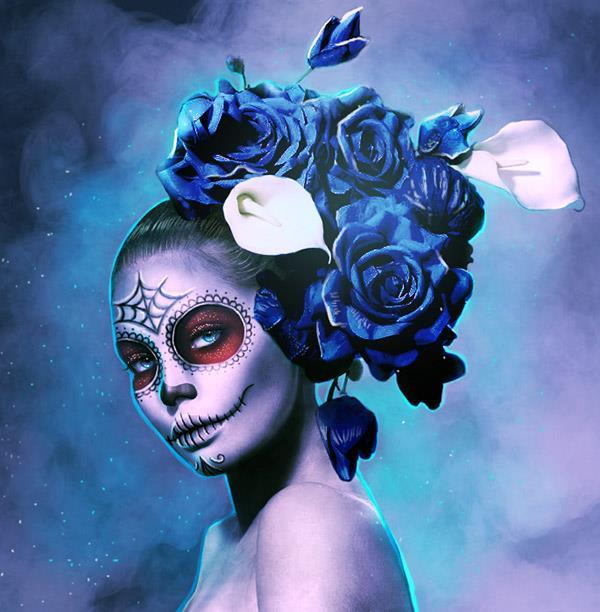 Halloween tutorial create sugar skull makeup on photos in Photoshop