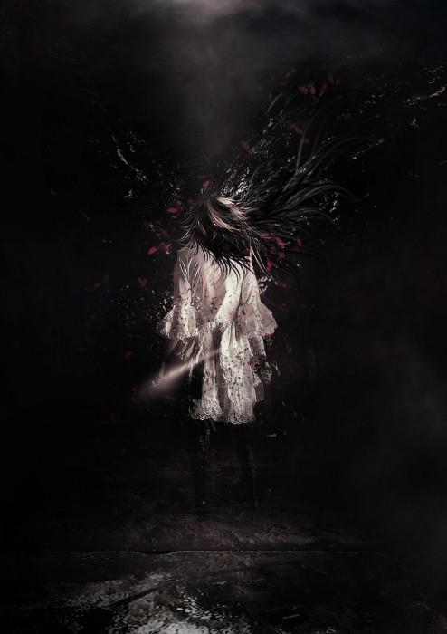 Manipulative human horror artwork with particles and flying flower petals in Photoshop