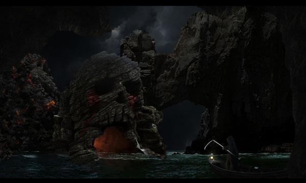 Photo manipulate an eerie sea skull cave scene in Photoshop