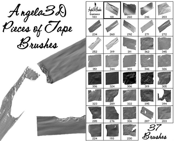 A3D Pieces of Tape Brushes by angela3d photoshop resource collected by psd-dude.com from deviantart