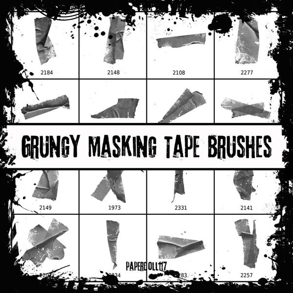 Grungy Masking Tape Brushes by PaperDoll117 photoshop resource collected by psd-dude.com from deviantart