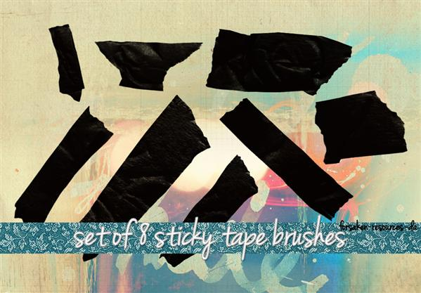 Sticky Tape Brushes by forsaken-resources photoshop resource collected by psd-dude.com from deviantart