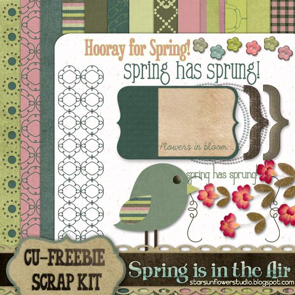 Spring Scrapbook Kit by starsunflowerstudio photoshop resource collected by psd-dude.com from deviantart