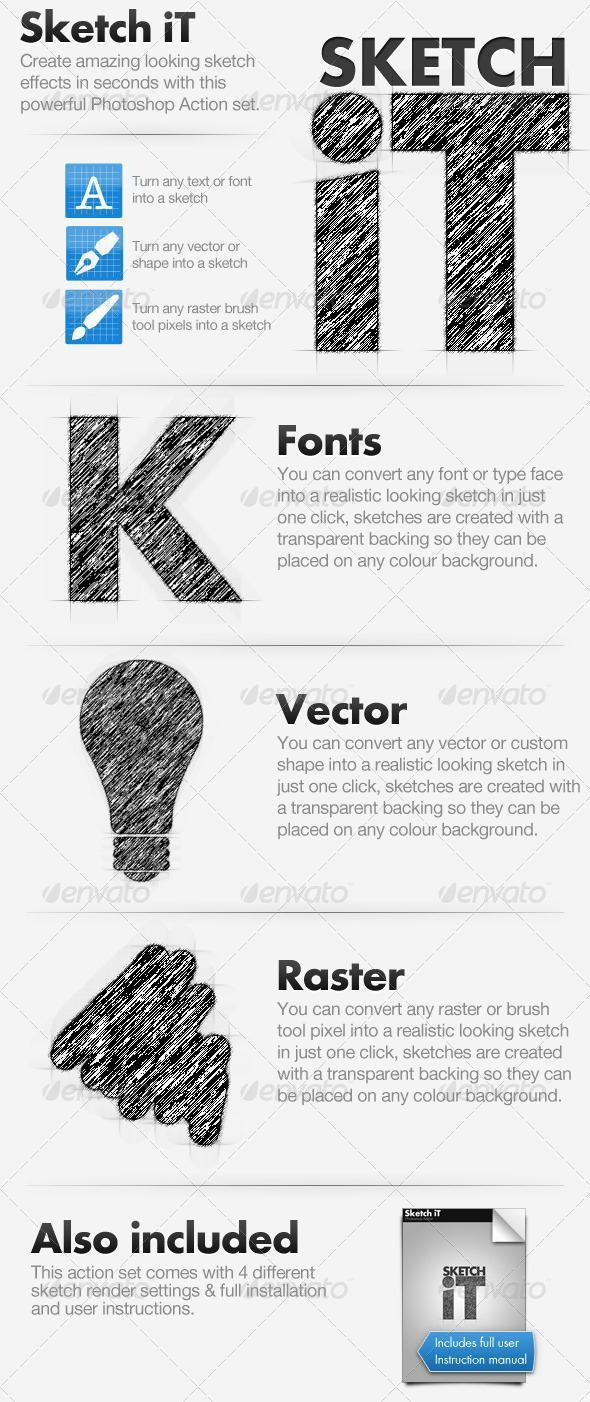 Sketch Photoshop Action for Text and Shapes
