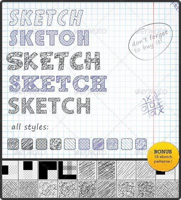Sketch Text Style with Scribble Photoshop Patterns