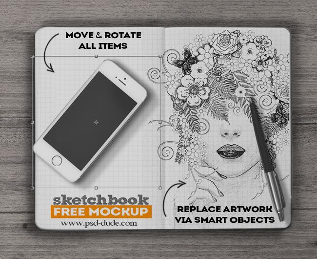 Sketchbook Mockup Free PSD