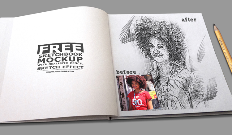 sketchbook with pencil sketch effect Photoshop file free download