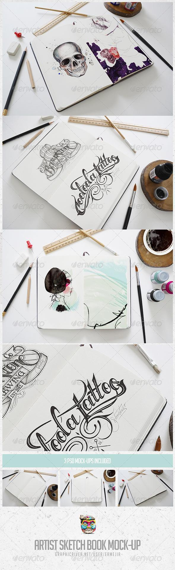 Artist Sketch and Paint Mockup Templates