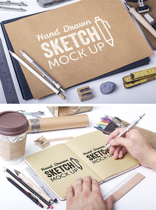 Download Sketchbook Free PSD Mock-up
