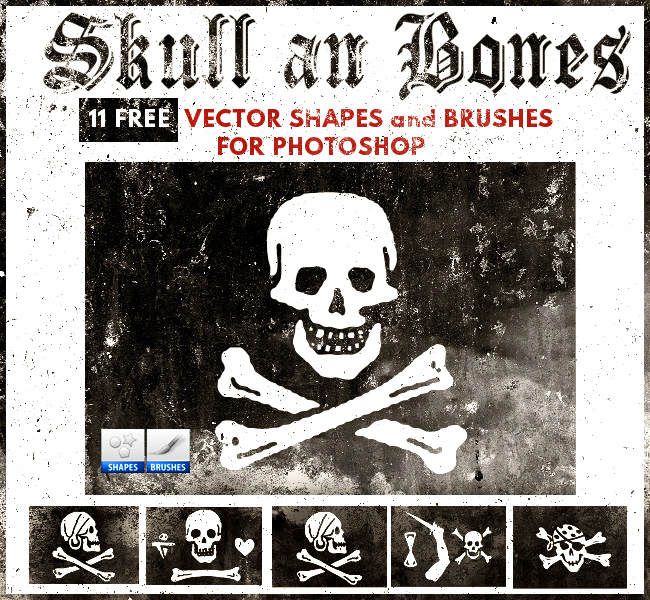 Skull and Bones Brushes and Vectors for Photoshop