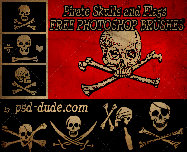 Pirate Skull Flags Photoshop Brushes