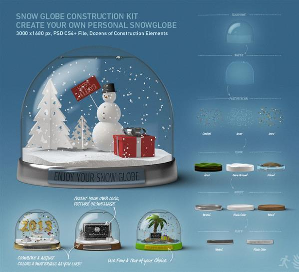 Snow Globe Construction Kit Layered PSD