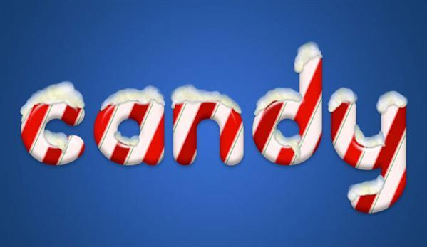 Christmas candy cane text with snow effect  in Photoshop