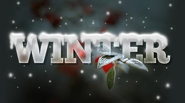 Winter text effect with icicles and snow in Photoshop