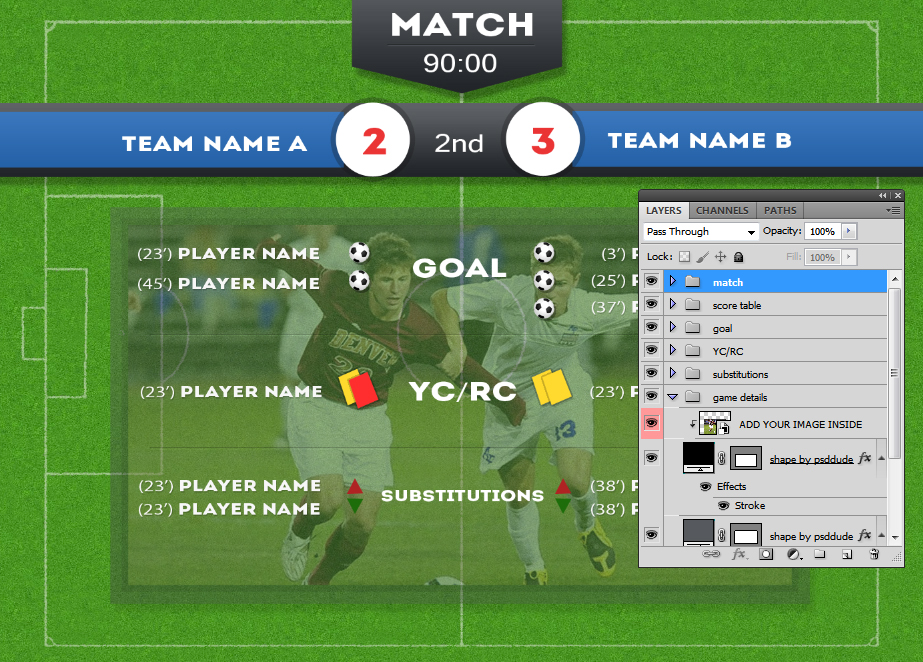 yellow cards and red cards substitutions etc of course more soccer game stats can be easily added the text and shapes are editable so you can change