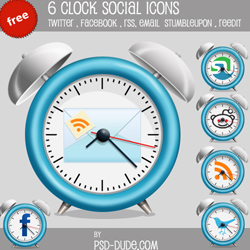 6 Free Clock <span class='searchHighlight'>Social</span> <span class='searchHighlight'>Icons</span> psd-dude.com Resources