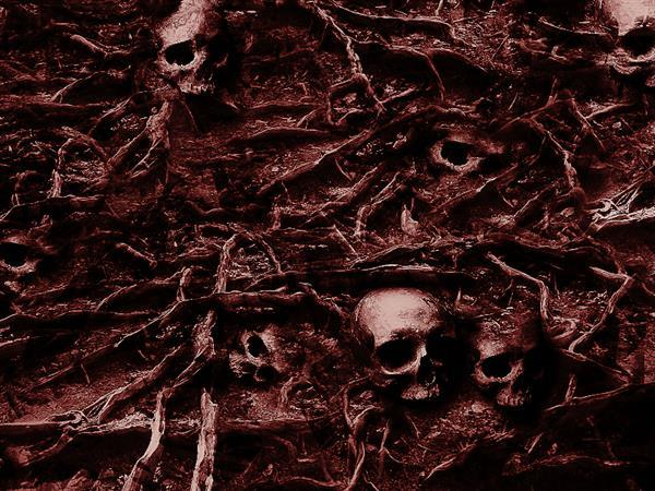 Dead Tree Roots and Skulls horror texture