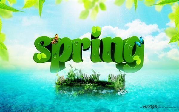 Spring 3D Text Effect