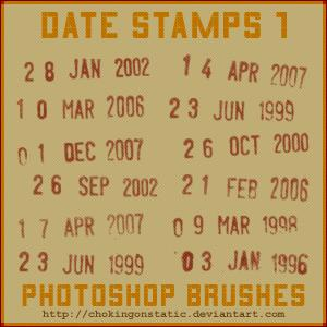 date stamp brushes 1 by chokingonstatic photoshop resource collected by psd-dude.com from deviantart