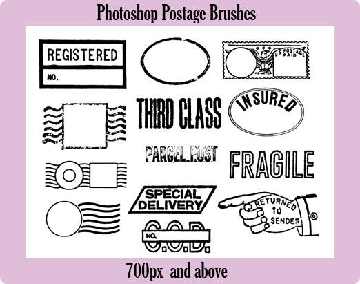 Photoshop Postage Brushes by ecovers photoshop resource collected by psd-dude.com from deviantart