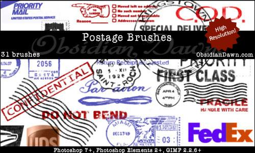 Postage Photoshop Brushes by redheadstock photoshop resource collected by psd-dude.com from deviantart
