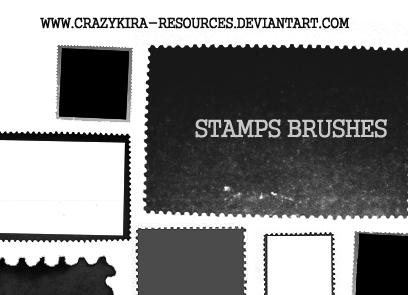 Stamp Brushes by crazykira-resources photoshop resource collected by psd-dude.com from deviantart