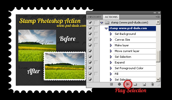 Stamp Action Photoshop