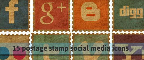 Freebie old stamp social media icon set