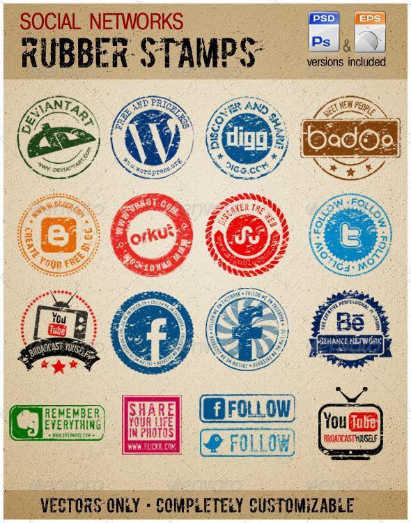 Rubber Stamp Social Networking Icons Vector
