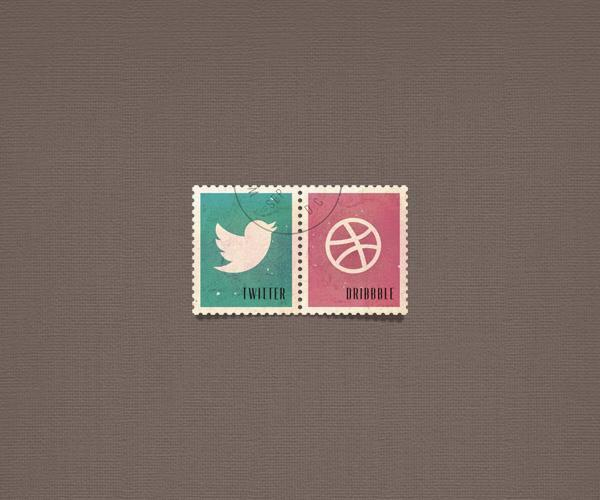 Twitter and Dribbble Stamp Icons