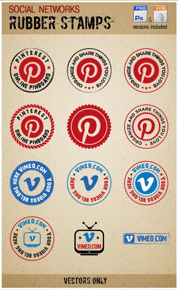 Vimeo and Pinterest Rubber stamps by Sergey-Alekseev photoshop resource collected by psd-dude.com from deviantart