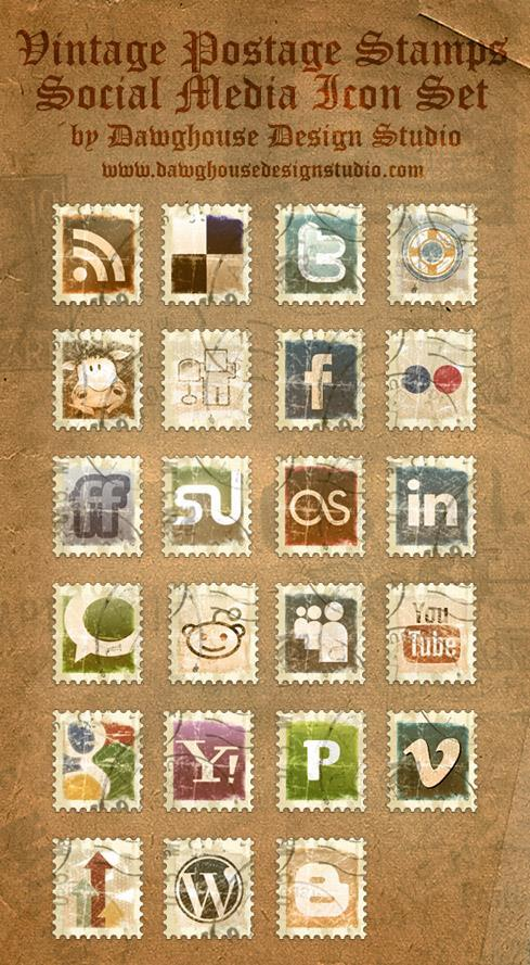 Vintage postage stamps social media icons