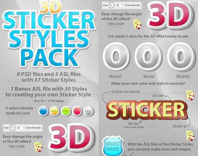 3D Sticker Photoshop Styles