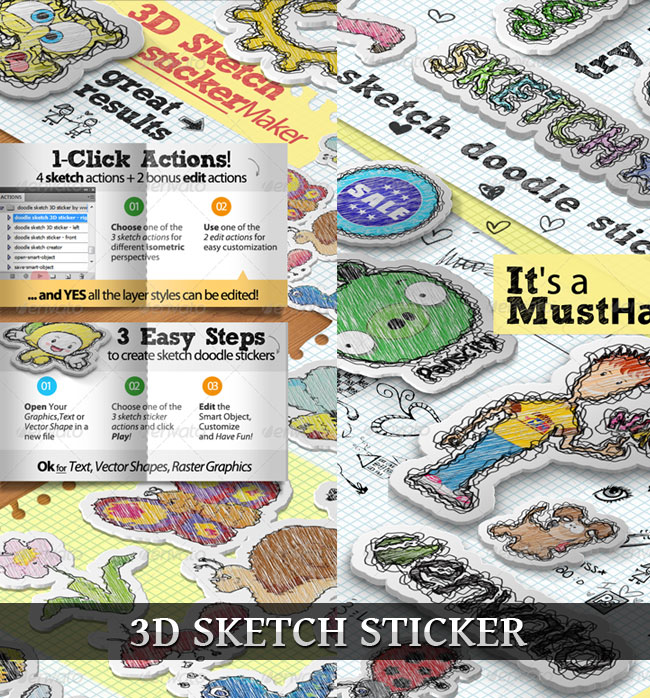 3D Sticker with Sketch Effect Photoshop Actions (4 Directions)