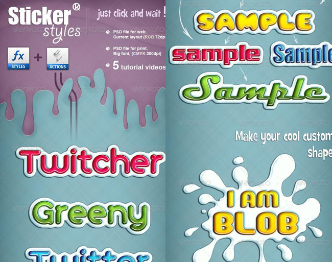 Sticker Embossed Photoshop Styles