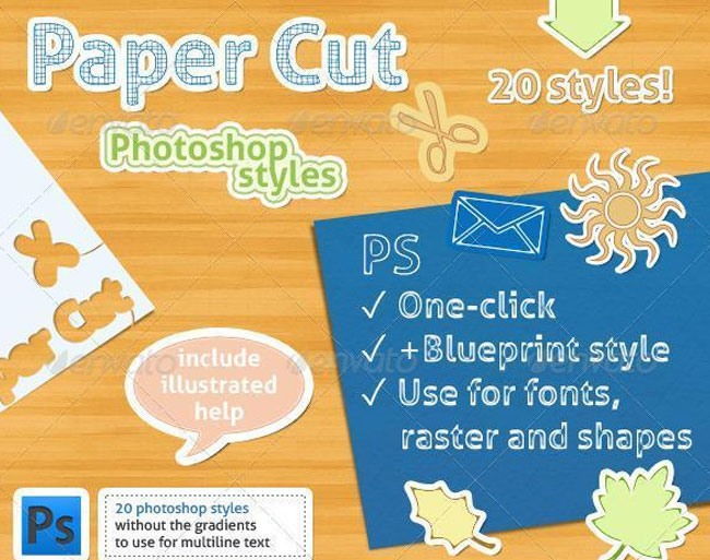 Sticker Paper Cut Photoshop Styles
