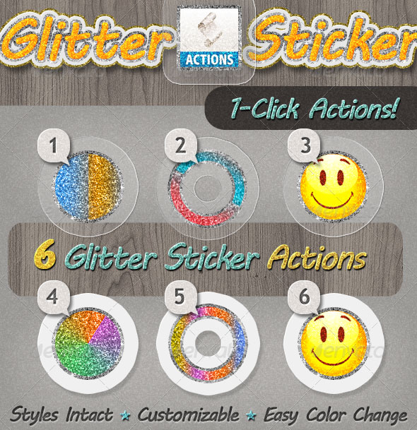 Glitter Sticker Photoshop Action - Premium