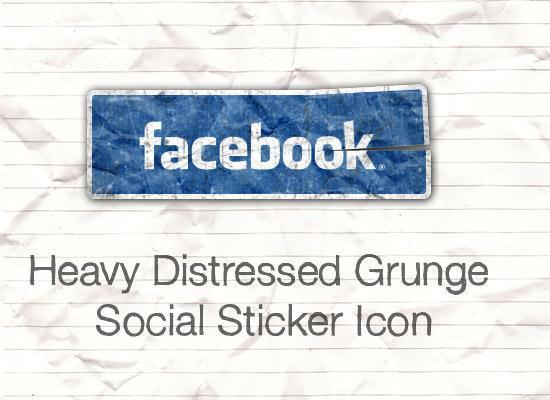Grunge Social Sticker Icon in Photoshop
