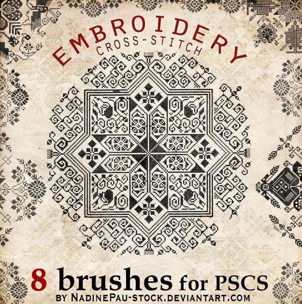 Embroidery a crossstitch by NadinePau-stock photoshop resource collected by psd-dude.com from deviantart