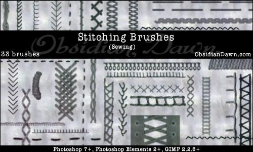 Stitching Sewing PS Brushes by redheadstock photoshop resource collected by psd-dude.com from deviantart