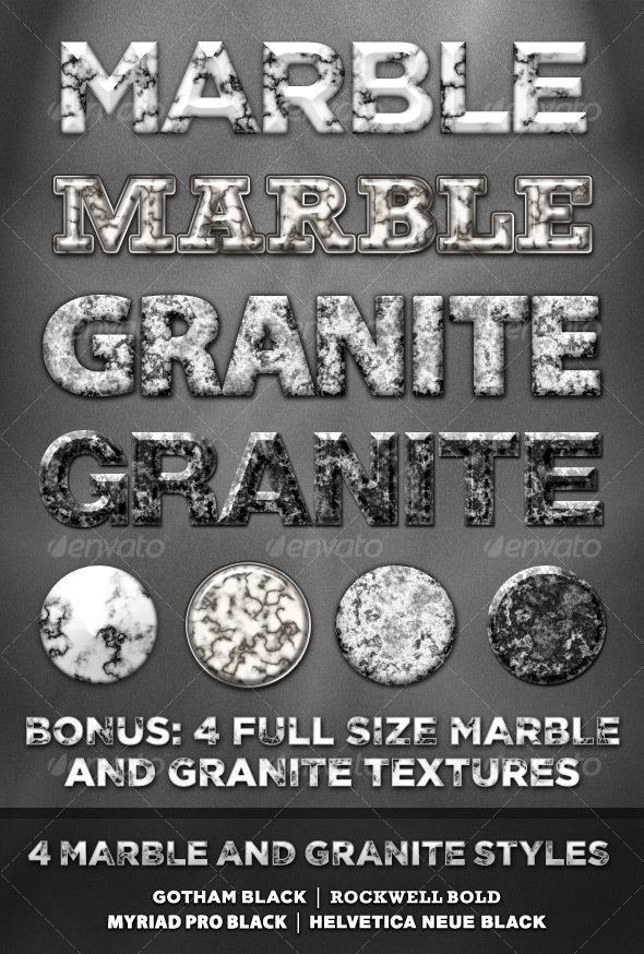 Marble and Granite Photoshop Text Styles