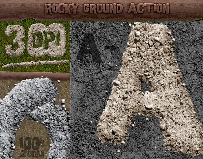 Rock Ground Text Style Photoshop Action - 300 DPI