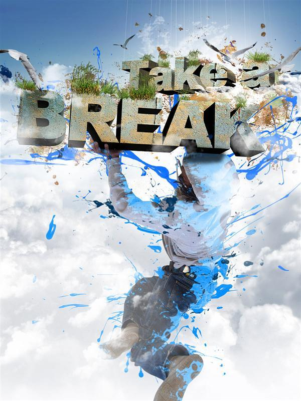Create take break 3D stone text composition in Photoshop