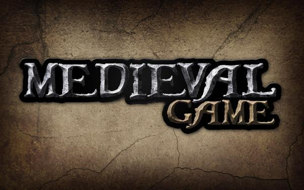 Medieval game logo rough stone text in Photoshop