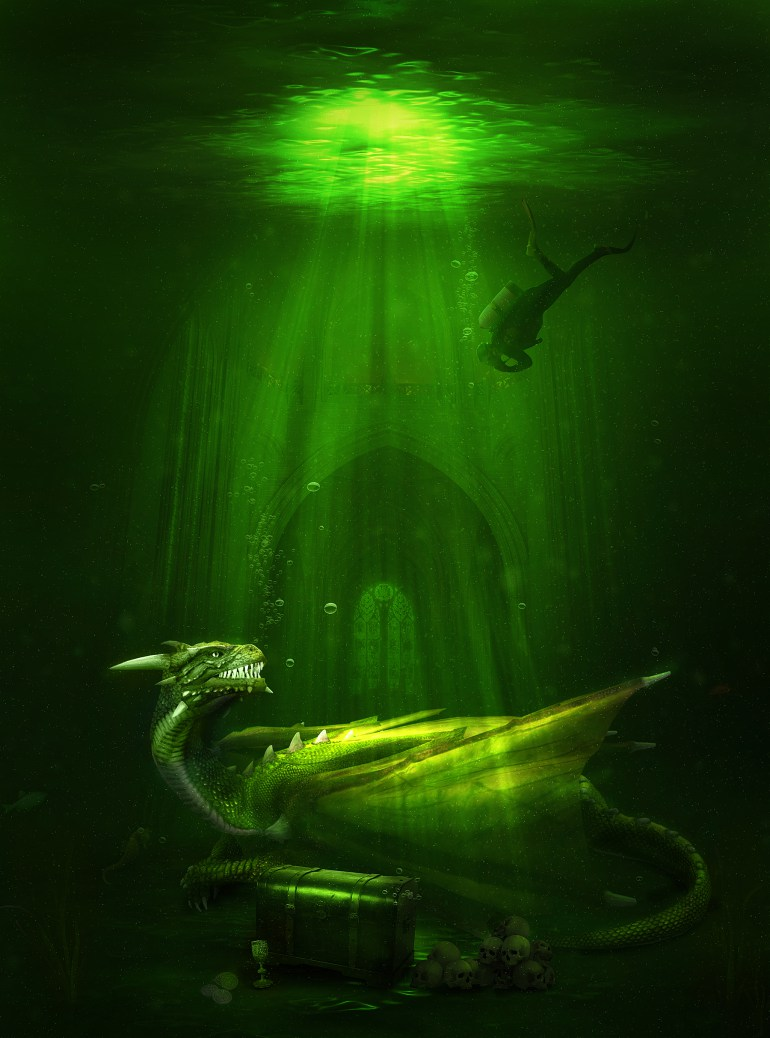 Create an Awesome Underwater Scene Depicting a Dragon and a Treasure Hunter in Photoshop