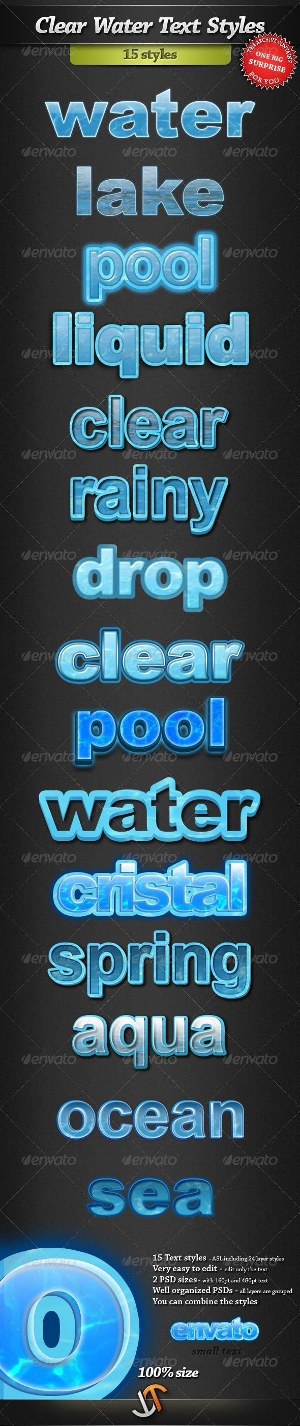 Clear Water Photoshop Text Styles