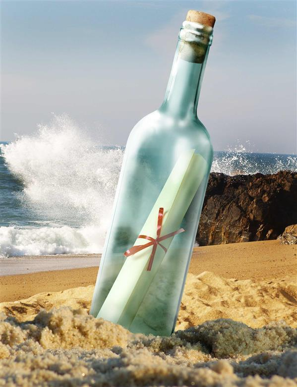 Message in a Bottle on the Beach with Photoshop