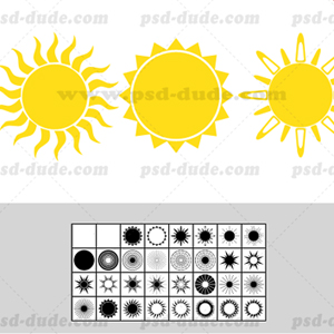 31 Sun Photoshop Shape psd-dude.com Resources