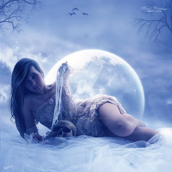 Sweet Dreams under the Full Moon Photo Manipulation
