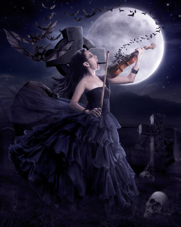 Vampire Queen and the Full Moon Photo Manipulation